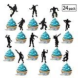YGSAT 24 Stück Kuchen Topper Glitter Happy Birthday Street Dance Junge Form Kuchendeckel Kuchendekoration Geburtstag Party Zubehör/Schwarz