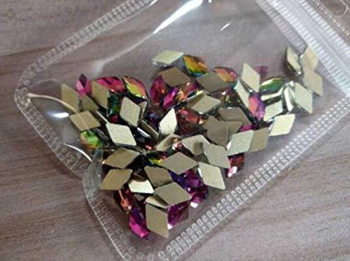 Gouen 20 Piece 10 Colors Rhinestone Nail Art Size 5 10 mm for 3D Nail Art Rhinestones Elongated Teardrop Glass Flame Colorful Stones,Rhombus Rainbow