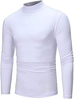 TEBAISE Men's Autumn Winter Pure Color Turtleneck Long Sleeve T-Shirt Top Blouse Comfortable