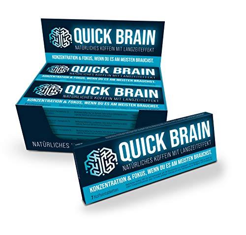 Quick Brain, Natürliches Koffein mit Langzeiteffekt (7 Stk.) – 80mg Koffein, Mate + Guaraná + Grüntee + Kaffeebohnen – Made in Germany + vegan