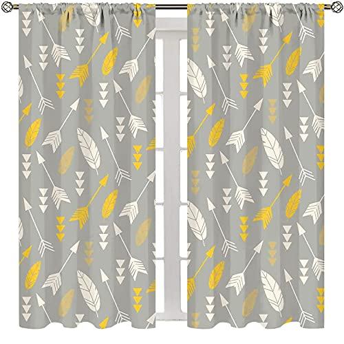 MRFSY Cortinas opacas con bolsillo para barra para dormitorio, decoración de flechas, plumas y flechas, patrón repetitivo para sala de estar, habitación de los niños, 163 x 163 cm