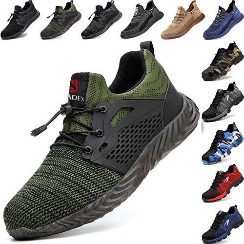 BAOLESEM Sicherheitsschuhe Herren Arbeitsschuhe Damen S3 Sportlich Leicht Atmungsaktiv Schutzschuhe Stahlkappe Schuhe, 03 Armee Grün, 40 EU
