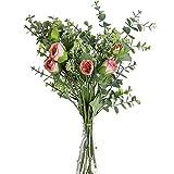 huaao 2pcs Ramo de Flores Artificiales Rosa y Aliento del bebé Artificiales Eucaliptos Falsas Plantas Bouquets Flor Nupcial Decoración Jarrón Boda arreglo Floral Fiesta Oficina Mesa Hogar, Rosa