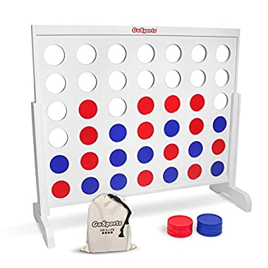 GoSports Giant Wooden 4 in a Row Game - HUGE 4 Foot Width - with Rules and Tote Bag for Coins