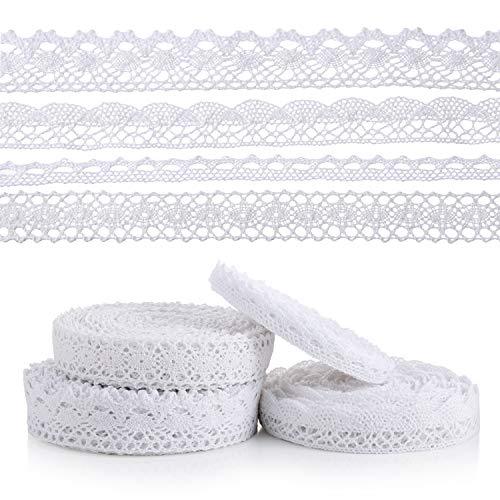 40 m di nastro in pizzo bianco vintage in cotone, nastro decorativo da cucire, 4 rotoli di nastro di cotone, nastro decorativo bianco per cucito, artigianato, matrimonio, decorazione, scrapbooking,