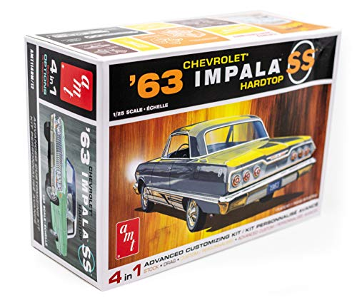 AMT 1963 Chevy Impala SS Hardtop - 1/25 Scale Model Kit - Buildable Vintage Vehicles for Kids and Adults