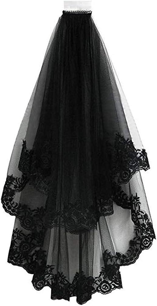 Aimeely Women Elegant Black Lace Edge Bridal Party Halloween Veils With Black Comb