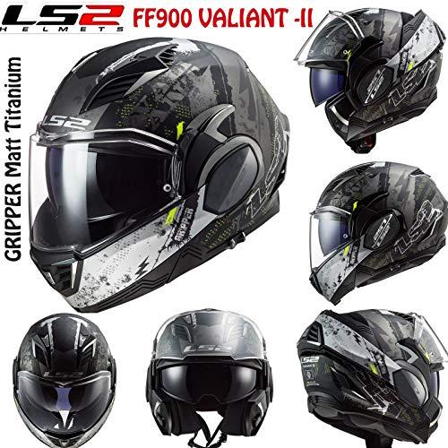 LS2 FF900 Valiant-II - Casco modular de moto para hombre, modelo Flip Up, modelo Jet Scooter, Gripper Matt Titanio (L)