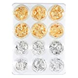 Foil Nail Art Set, 12 Pack Nail Accessories for Foil Transfer, Nail Paillette for Decoration, Flake and Mirror Effect   Gold and Silver
