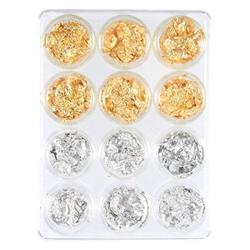 Juvale Blatt nagelkunst stellte 12 nagelzubehörpaket für die übertragung von folie paillette nagel für die dekoration, flocke und spiegeleffekt | gold und silber
