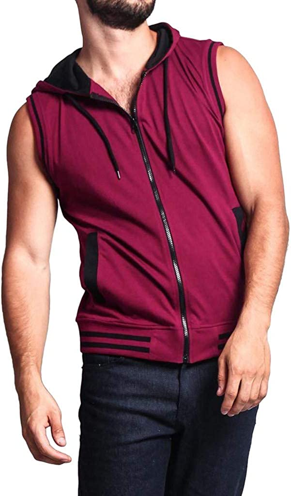Forthery Fashion Mens Hooded Vest with Zip,Sleeveless Slim Fit Sport Bodybuilding Tops Breathable Fitness Blouse
