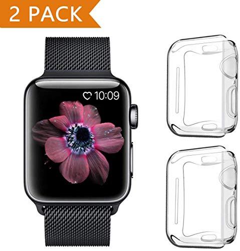 PeYOU - Custodia protettiva per Apple Watch 44 mm Series 5, 2 pezzi, in morbido TPU, pellicola protettiva completa, ultra sottile, HD trasparente, per Apple Watch 44 mm Series 5/Series 4