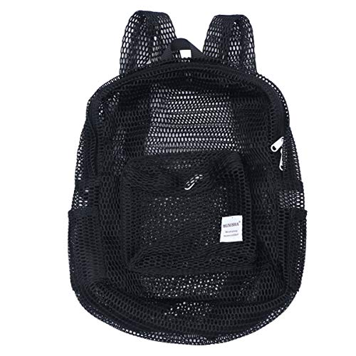 TENDYCOCO Mochila de malla transparente GMY Sport Travel School Bookbag ver a través de la mochila de malla de playa con correas acolchadas para niños, hombres y mujeres (negro)
