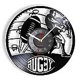 Jeu de Rugby Disque Vinyle Horloge Murale Joueur de Jeu de Football Homme Grotte décoration de la Maison Football Sport Album Photo Artisanat Montre Murale
