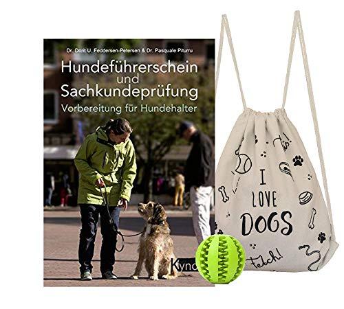 YellowMedia Hundeführerschein und Sachkundeprüfung + stylischer Hunde-Turnbeutel & gratis Hunde-Spielball für Zahnpflege, Welpenerziehung +