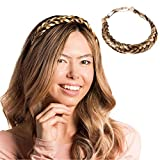 Madison Braids Womens Braided Headband Hair Braid Natural Looking Synthetic Hair Piece Extension - Lulu Two Strand - Highlighted