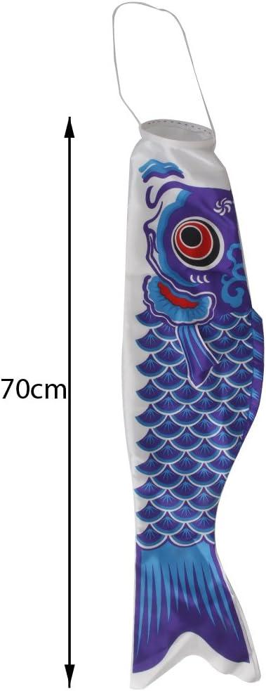 Multi 55cm Blue Amuzocity 40-110cm Length Koinobori Japanese Satin Carp Windsock Colorful Fish Flag Decors