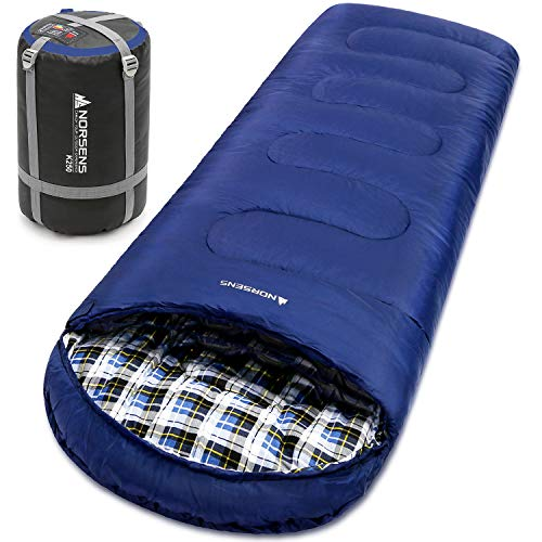 NORSENS Camping Sleeping Bags - Lightweight Compact Sleeping Bag for Adults, Kids - 3 Season Warm & Cold Weather Sleeping Bags for Hiking,Backpacking (Navy)