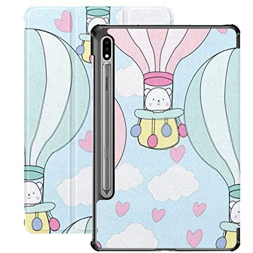 Funda Galaxy Tablet S7 Plus de 12,4 Pulgadas 2020 con Soporte para bolígrafo S, Lindo Oso de Peluche de Dibujos Animados en Balloonbaby Funda Protectora Delgada con Soporte para Samsung