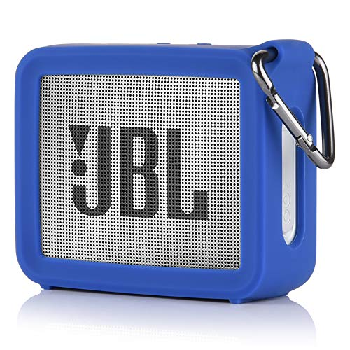 TXEsign Travel Protective Silicone Stand Up Carrying Case Compatible with JBL GO 2 Portable Bluetooth Waterproof Speaker (Blue)