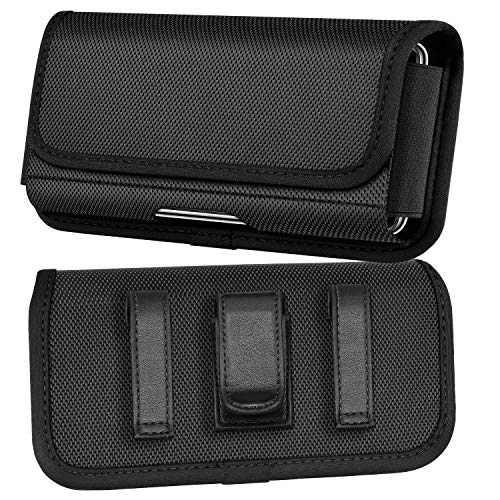 COANJIUO Horizontal Nylon Phone Holster for iPhone 11/Pro/Max Belt Clip Pouch for iPhone SE 2020/XS/X/8/7, Samsung, Moto Smartphone for Slim Case on (L)