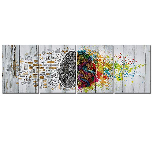 Visual Art Decor 4 Pieces Retro Left and Right Brain Advantage Canvas Poster Inspiration Motivation Education Science Canvas Prints Wall Art Gallery Modern Office Wall Decor Ready to Hang (12x16x4)
