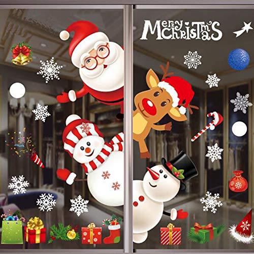 moinkerin Fensterdeko Weihnachtsmann Schneemann Schneeflocken, Statischer PVC Weihnachtssticker Weihnachten Fensterbilder, Wiederverwendbar Weihnachtsaufkleber für Türen Fenster Vitrinen Glas