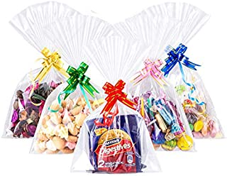 GWHOLE 120 PCS Clear Treat Bags with Assort Pull Bows 6'' x 10'' Cellophane Wrap Bags Clear Cello Bag for Lollipop Cake Po...