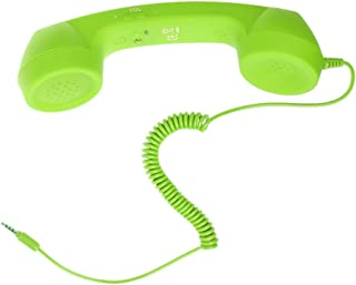 MagiDeal Retro Pop 3.5mm Jack Corded Handset Mobile Phone Handset for iPhone IPad PC Computer Tablet - Green