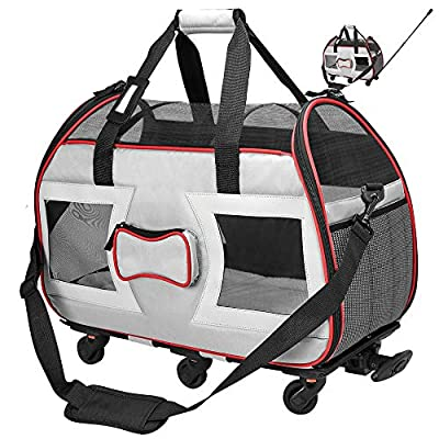 """Katziela Airline Approved Removable Wheeled Pet Carrier for Small Pets. Upgraded Structural Design for Ultimate Strength Mesh Panels & Plush Mat. Compact and Durable 19""""x22""""x11"""" (Grey Bone Cruiser)"""