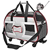 Katziela Airline Approved Removable Wheeled Pet Carrier for Small Pets. Upgraded Structural Design for Ultimate Strength Mesh Panels & Plush Mat. Compact and Durable 19'x22'x11' (Grey Bone Cruiser)
