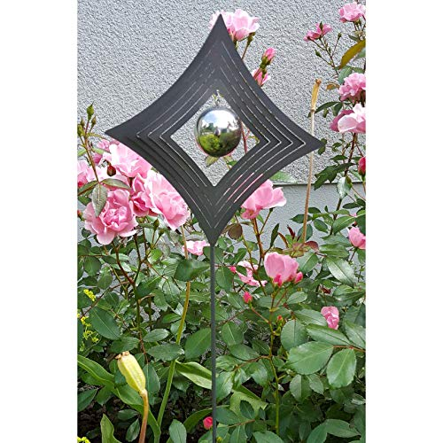 Pflanzen Kölle Beetstecker Raute aus Stahl mit 1 Edelstahl-Kugel, dunkelgrau lackiert, Maße 80 x 18 x 3,8 cm