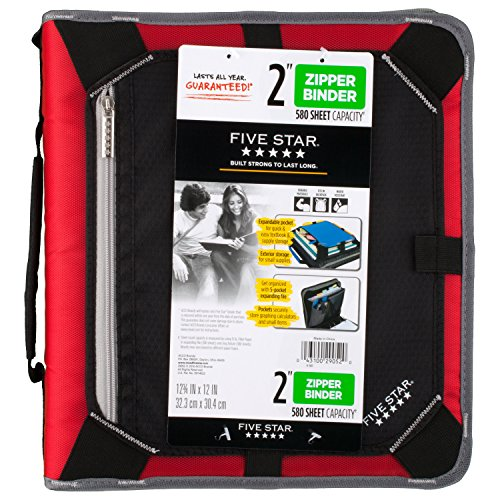 Five Star Zipper Binder, 2 Inch 3 Ring Binder, Expansion Panel, Durable, Black/Red/Gray (29052BE7) Photo #5