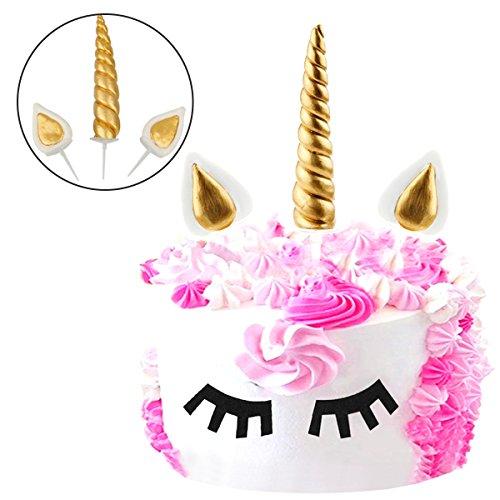 JER Gold Einhorn Tortentopper, Kuchendeko Einhorn Cake Topper mit Horn und 2 Ohren für Willkommensparty, Hochzeit und Geburtstag Party Dekoration