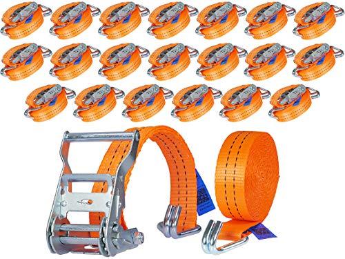 20 Stück 2000kg 6m Spanngurte mit Ratsche 2 teilig zweiteilig mit Haken Zurrgurte Ratschengurt orange 35mm 2000 daN 2t Industrie PLANET