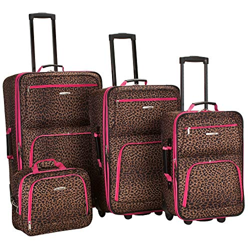 Rockland Jungle Softside Upright Luggage Set, Pink Leopard