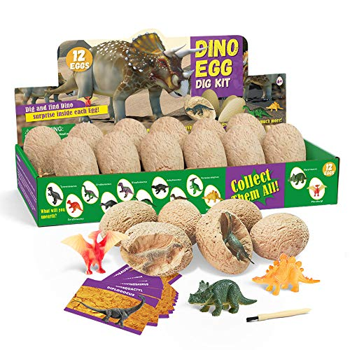 GoldTech Products Dino Egg Dig Kit, Dinosaur Eggs Dig Kits Toys for Kids 12 Unique Dinosaur Fossil Eggs and Discover 12 Cute Dinosaurs Archaeology Science STEM Toys Educational Gifts for Boys Girls