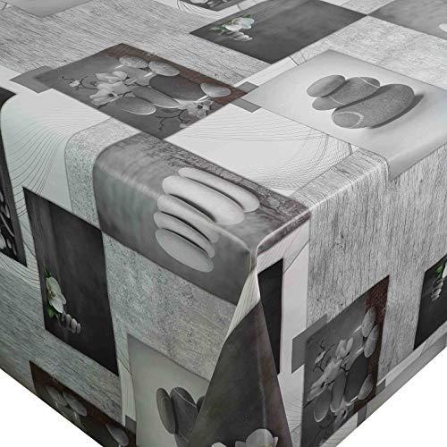 DecoHomeTextil Wachstuch Steine Pusteblume Breite 80-140 cm Länge wählbar abwaschbare Tischdecke 100 x 160 cm