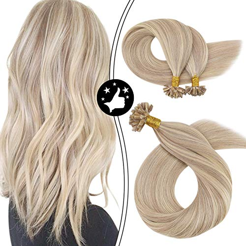 【Hot Sale Off】Moresoo 20 Inch Utip Highlight Hair Extensions Remy Human Hair Keratin Hair Extensions Color #18 Ash Blonde Mixed with #613 Blonde Human Hair Extensions 50G/50S