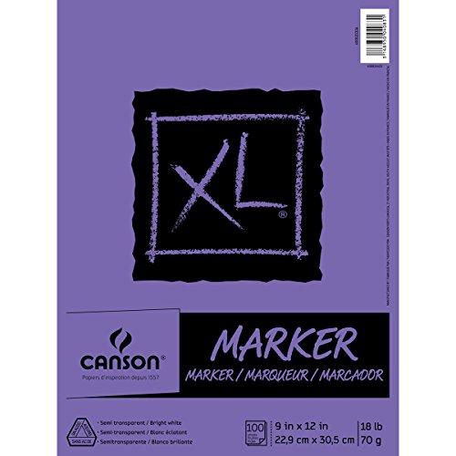 Canson XL Series Marker-Papierblock, halbtransparent, für Stifte, Bleistift oder Marker, gefaltet, 8,2 kg, 22,9 x 30,5 cm, weiß, 100 Blatt (400023336)