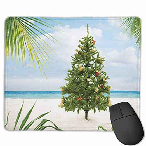 Nettes Gaming-Mauspad, Schreibtisch-Mauspad, kleine Mauspads für Laptop-Computer, Mausmatten-Weihnachtsbaum mit Lametta und Ornamenten Tropische Insel Sandy Beach Party-Thema Standardgröße Grüne Creme