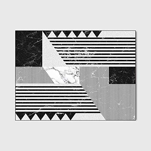Wohnzimmer Teppich Modernes Schwarzweiß-geometrisches Mosaik Marmor Schlafzimmer Wohnzimmer Griffige Fußmatte Bedside Teppichboden-Matten (160 * 230),80 * 120cm