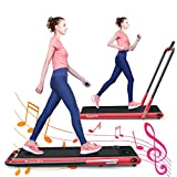 GYMAX Folding Treadmill, 2 in 1 Under Desk Electric Running Machine with Bluetooth & LED Screen, Portable Walking Machine for Home, Office, Gym (Red)