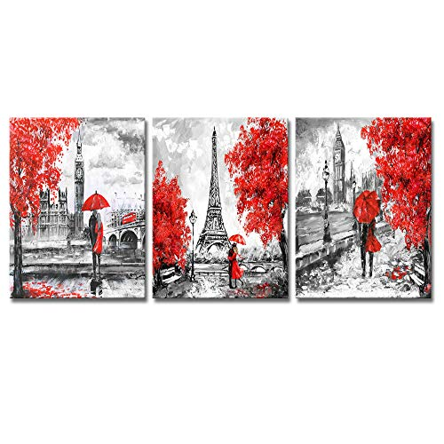 DekHome 3 Piece Paris Canvas Prints Wall Art Black and Red Romantic Couple Wall Art Decor Eiffel Tower Big Ben Scenery Picture Artwork Ready to Hang for Bathroom Living Room Decoration 12'x16'x3pcs