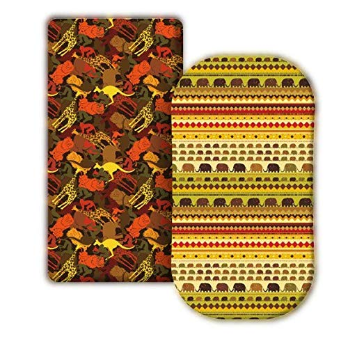 Azricka | Premium Quality Fitted Bassinet Sheet Set | Soft Breathable Stretchy Cotton | Unisex Baby Boy & Girl | Colorful Animal Print Safari Elephant Giraffe | 2pack Universal Standard Size 16x32x4