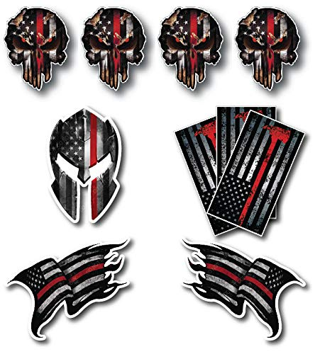 Variety Pack of 10 Thin Red Line Firefighter Fire Department Fire Truck Red Lives Matter Decal Sticker Car Truck RLM