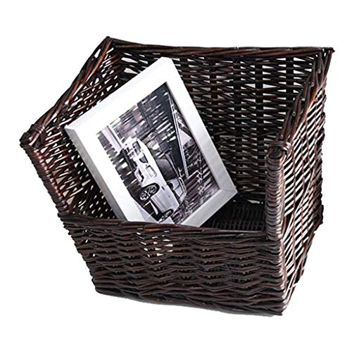 FHKBK Librerías Rattan Weaving Escritorio Estantería Clasificador de Correo Marrón Escritorio Organizador Retro Revista Decorativa Mayordomo Hogar Pequeñas cestas de ratán Estante para l