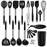Silicone Cooking Utensil Set - ADINC 480℉ Heat Resistant Dishwasher Safe Silicone Cooking Kitchen Utensils Set Stainless Steel Handle Spoon Spatula Whisk Tongs Holder for Nonstick Cookware Black/30PCS