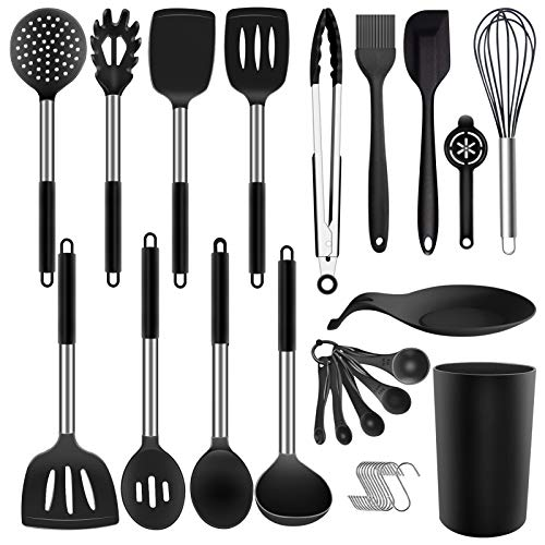 Silicone Cooking Utensil Set  ADINC 480℉ Heat Resistant Dishwasher Safe Silicone Cooking Kitchen Utensils Set Stainless Steel Handle Spoon Spatula Whisk Tongs Holder for Nonstick Cookware Black/30PCS