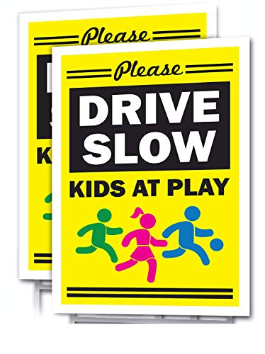 """SIGNS OF JUSTICE Slow Down Yard Sign,12""""x18"""", (2 Pack) Double Sided, Kids at Play, Drive Slow, Child Safety, with Metal Stakes, Weatherproof, Yellow, Red & Black for Streets & Neighborhoods (2)"""